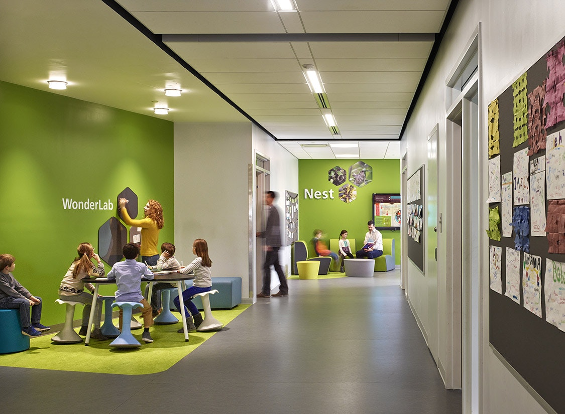 """The elementary school features 3 floors, including 42 classrooms subdivided into innovative """"learning neighborhoods"""" which will encourage collaboration and novel curricular arrangements that support teaching and learning, while allowing for flexibility in how the building is used."""