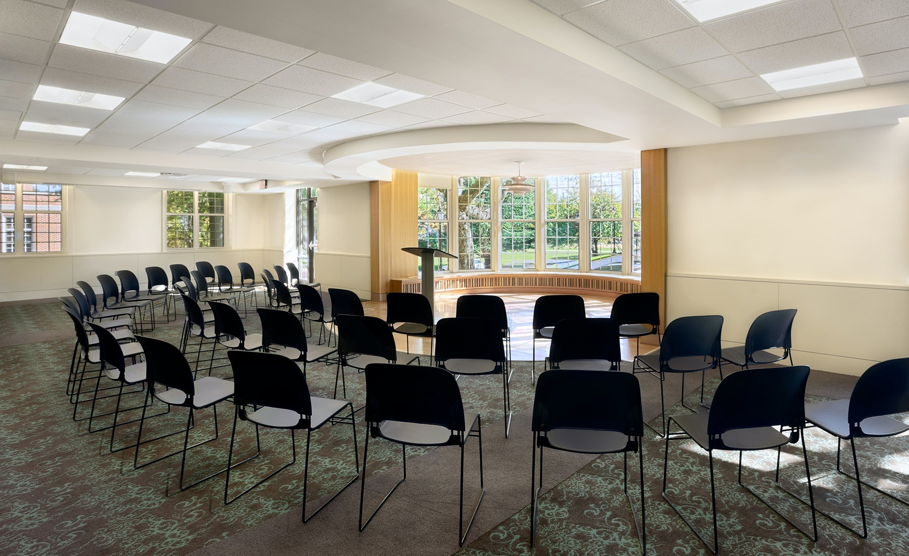 "A renovation to ""The Dome Room"" re-claimed a signature space of Cox Hall, creating a memorable place for students to gather as a community for lectures, discussion groups, training, and hall-wide social events."