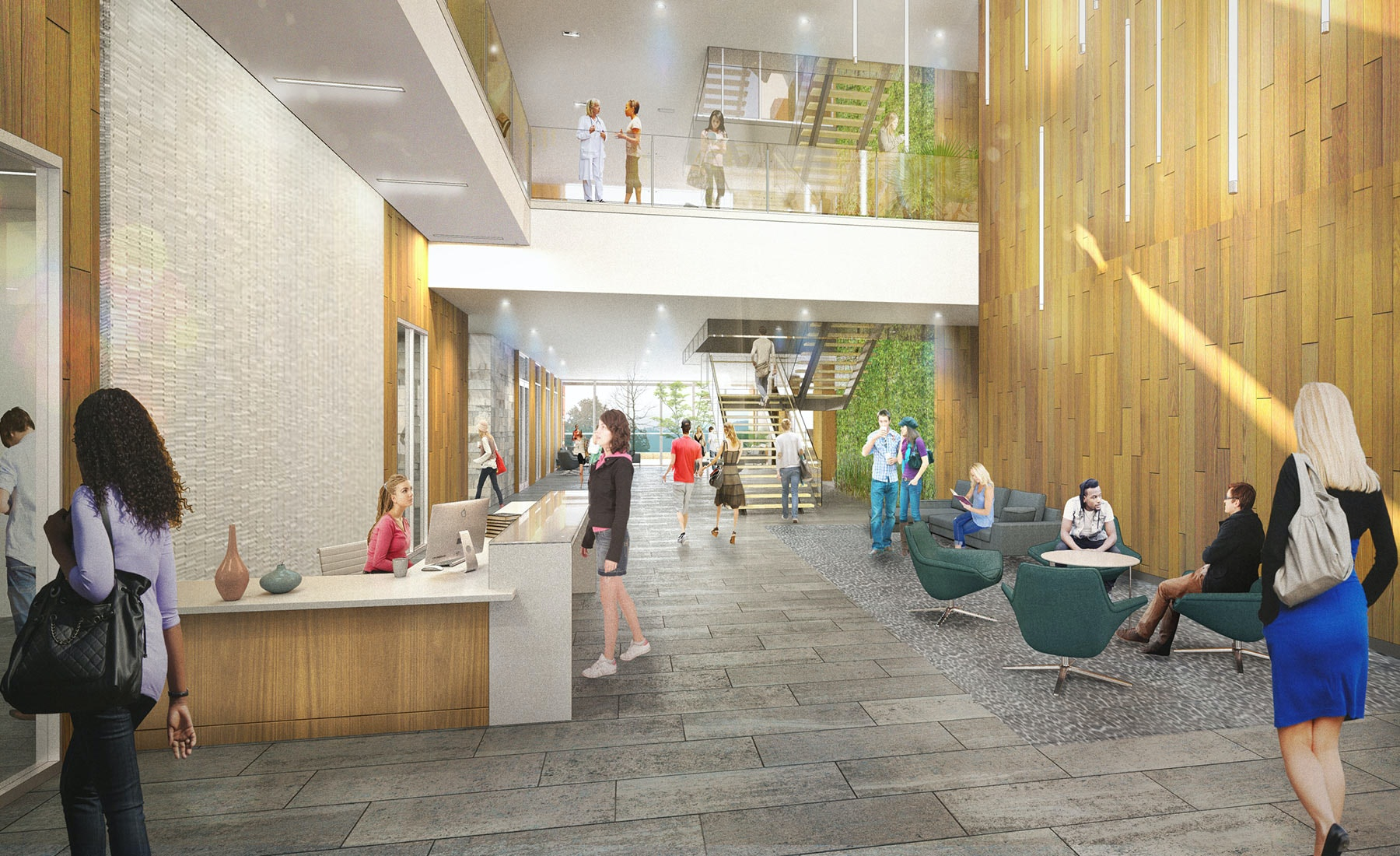 Student Health and Wellness Center, Lobby: The entire building is organized around an open and light-filled entry and multi-story lobby, while generous windows invite daylight into all departments, improving orientation and wayfinding.