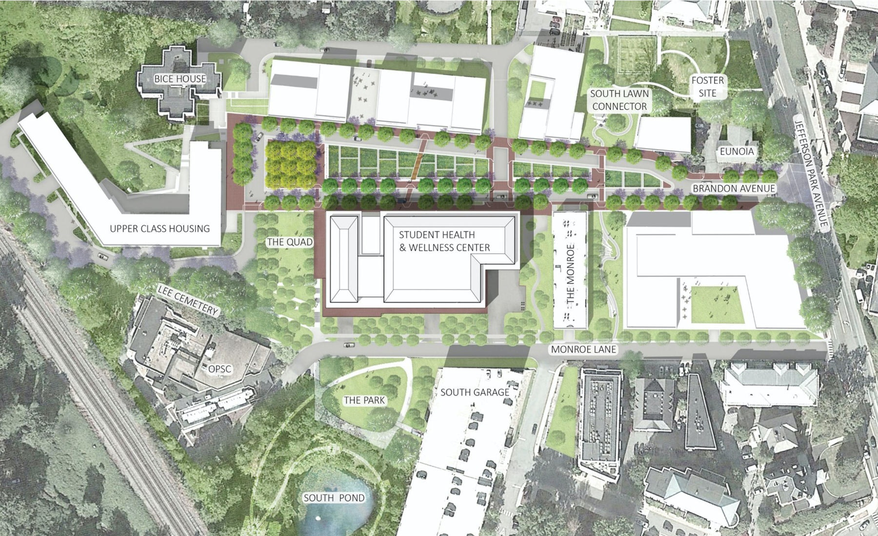 Brandon Avenue Corridor and Context Map for the Student Health and Wellness Center at UVA.