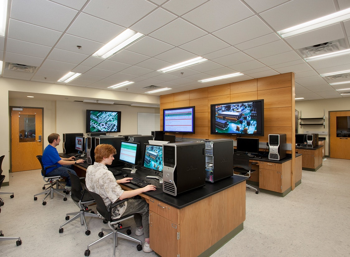 This addition houses the more intensive laboratories for teaching and research. The second phase, a renovation of the 1963 building completed in 2010, contains less mechanically intensive seminar rooms, computer science labs, and a 200 seat auditorium used by the entire college.